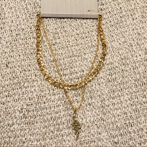 NWT Gold Snake Pendant Layered Necklace